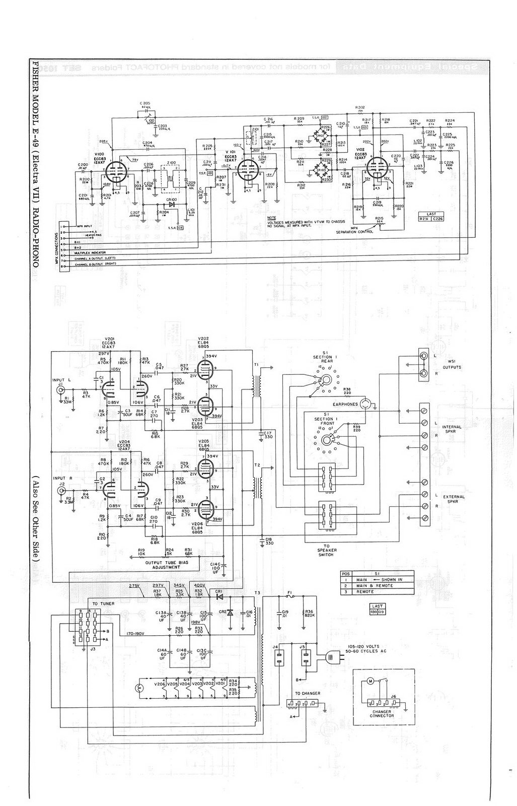 Fisher Console Service Manuals And Owners Wiring Diagram Model T 49f Custom Electra Vii E 49 Schematic
